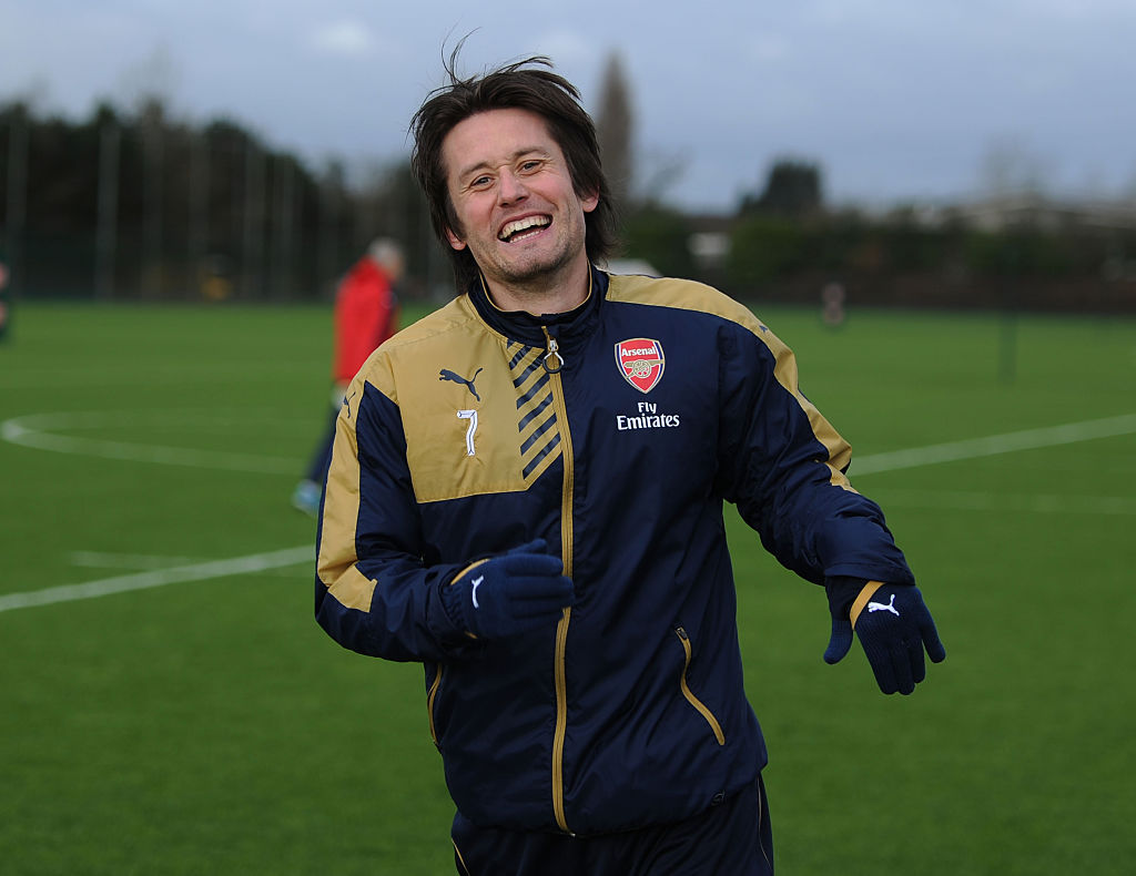 Tomas Rosicky pictured back in Arsenal training after seven months out