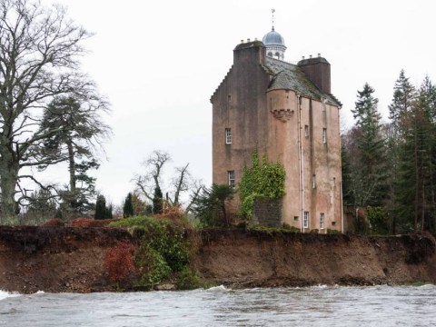 A Scottish castle is falling into the water due to recent floods