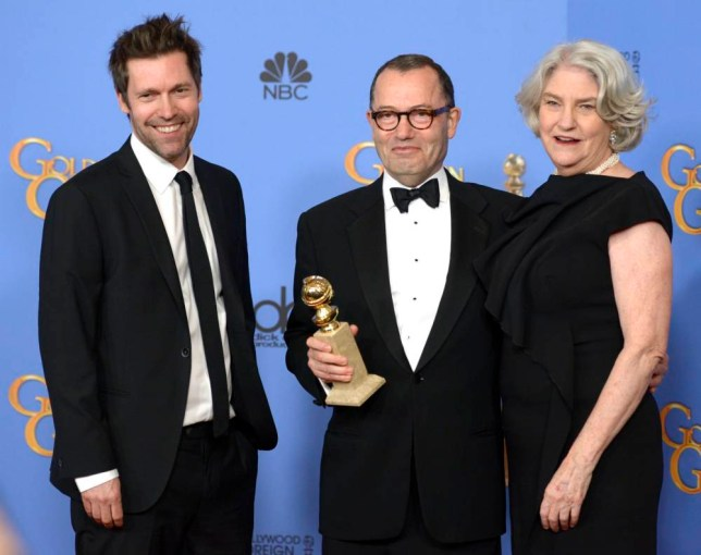 epa05096475 (L-R) Producers Mark Pybus, Colin Callender and Rebecca Eaton, winners of Best Miniseries or Television Film for 'Wolf Hall,' hold their award in the press room during 73rd Annual Golden Globe Awards at the Beverly Hilton Hotel in Beverly Hills, California, USA, 10 January 2016. EPA/PAUL BUCK