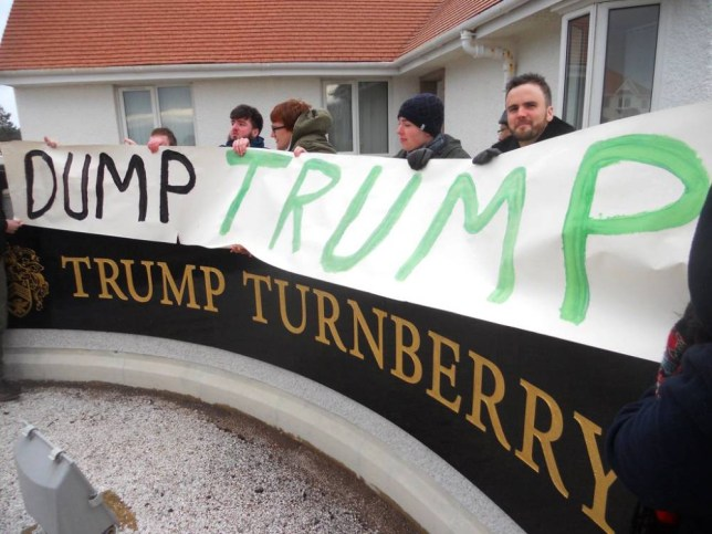 Handout photo issued by Rise Scotland of RISE activists preparing to picket Trump Turnberry in Ayrshire, Scotland, as activists staged protests at two golf resorts owned by Trump as MPs prepare to debate calls to ban him from the UK. PRESS ASSOCIATION Photo. Picture date: Sunday January 17, 2016. Rise Scotland said around 40 people demonstrated at the Trump International estate in Aberdeenshire and Turnberry in Ayrshire on Sunday afternoon. See PA story PROTEST Trump. Photo credit should read: Rise Scotland/PA Wire NOTE TO EDITORS: This handout photo may only be used in for editorial reporting purposes for the contemporaneous illustration of events, things or the people in the image or facts mentioned in the caption. Reuse of the picture may require further permission from the copyright holder.