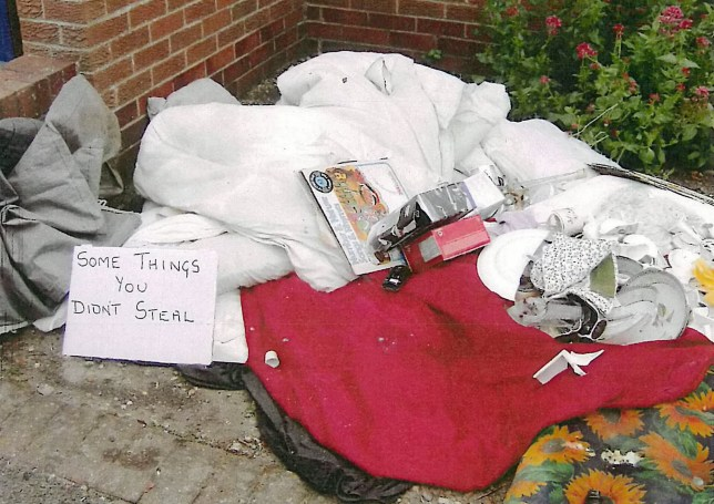 "A jilted husband who dumped his ex-wife's belongings outside her house in an act of petty revenge has been slapped with a £2,500 fine. See NTI story NTIDUMPED. Angry Michael Hutchinson, 72, left the damaged bedding, furniture, glass lamps and a mirror, outside his wife's home on two occasions in June 2014. He had defaced them with green paint and solvent and even left a note with the items at the property in Martin, Lincs., which read: ""some things you didn't steal"". Mrs Hutchinson recognised the furnishings from the home she had previously shared with her former husband in Burgh Le Marsh, Lincs., and reported it to the authorities. Following an 18-month investigation, Hutchinson was found guilty of fly tipping at Lincoln Magistrates' Court."