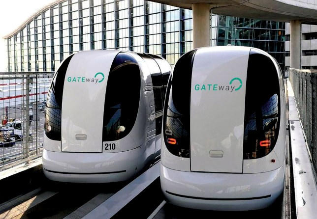 Undated handout photo issued by TRL of shuttle pods at Heathrow Airport which will be adapted to become the first driverless vehicles to be tested on London roads. PRESS ASSOCIATION Photo. Issue date: Friday January 29, 2016. The pods, which resemble small automated train carriages, are currently being used at Heathrow Terminal 5 and will be developed to work without dedicated tracks, the UK's Transport Research Laboratory (TRL) said. The vehicles will then be used in trials of driverless cars in Greenwich this summer as part of the Gateway project led by TRL. See PA story TRANSPORT Driverless. Photo credit should read: TRL/PA Wire NOTE TO EDITORS: This handout photo may only be used in for editorial reporting purposes for the contemporaneous illustration of events, things or the people in the image or facts mentioned in the caption. Reuse of the picture may require further permission from the copyright holder.