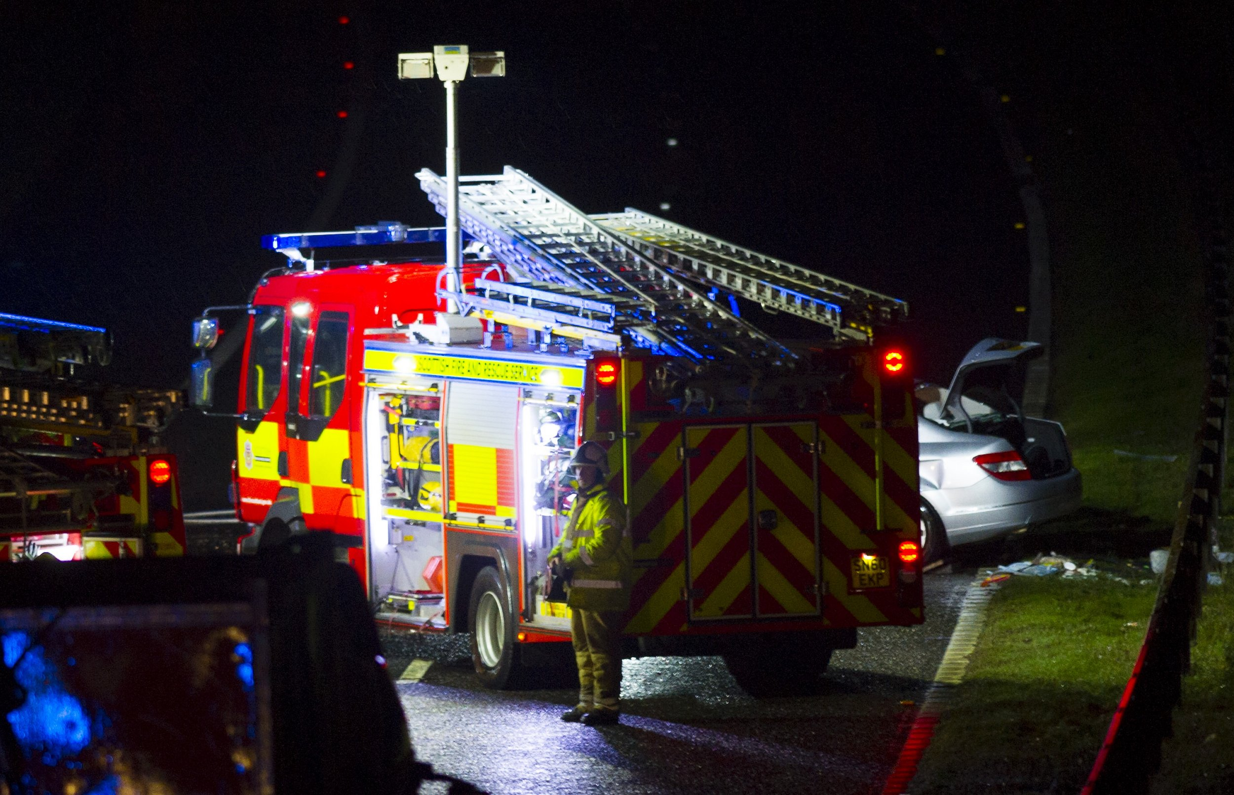Scottish police along with the Fire and Rescue Service tend to a road traffic on the south bound carriageway of the M9 near Linlithgow. Police Scotland confirmed that there are two fatalities and others in hospital as a result of the collision. Featuring: Atmosphere Where: Linlithgow, Scotland, United Kingdom When: 29 Jan 2016 Credit: WENN.com