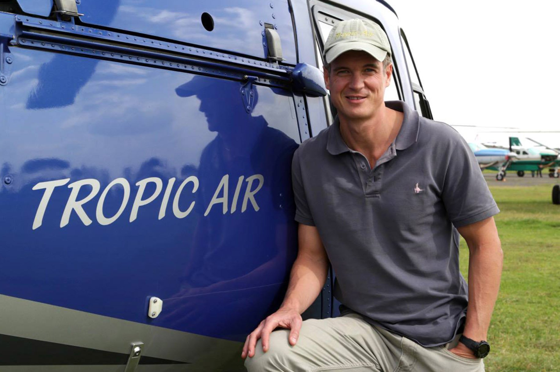 Internet pic shows: Roger Gower - British pilot shot dead by poachers in Tanzania after they downed his helicopter.nnA British helicopter pilot has been shot dead by elephant poachers in Tanzania.nRoger Gower, 37, was taking part in an anti-poaching operation with authorities in Tanzania when the criminals he was tracking fired on his aircraft.nHe was hit by an AK47 in midair and managed to land his helicopter but died before rescue teams arrived.nnnnPicture by Pixel8000 07917221968