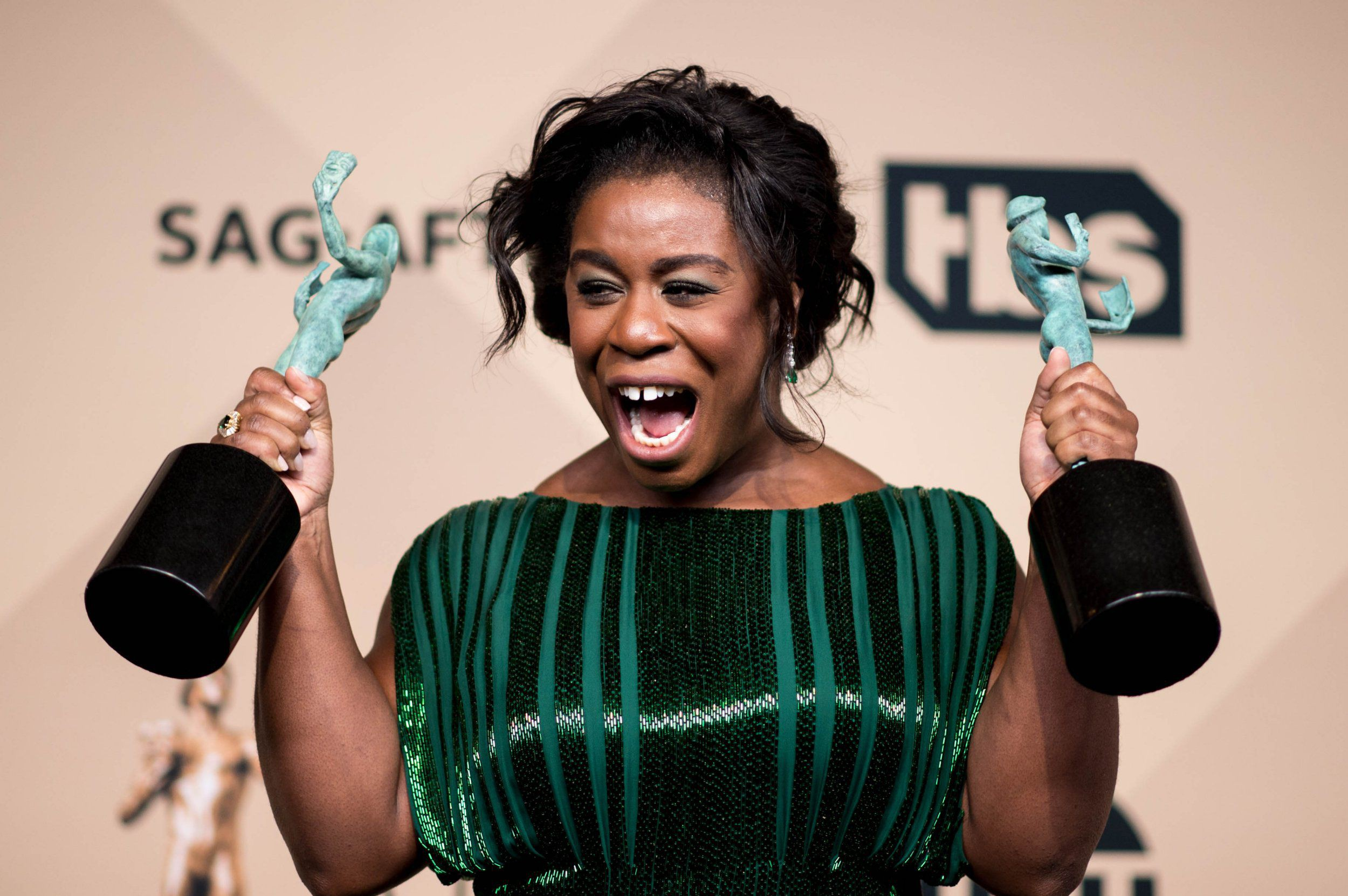Mandatory Credit: Photo by Watchara Phomicinda/Los Ange/REX/Shutterstock (5579314g) Uzo Aduba wins for best female actor in a comedy series The 22nd Annual Screen Actors Guild Awards, Press Room, Los Angeles, America - 30 Jan 2016