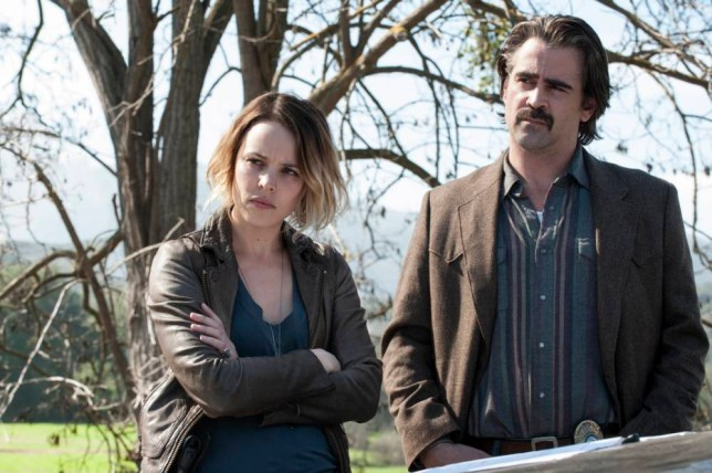 Television programme: True Detective, starring Rachel McAdams as Ani Bezzerides and Colin Farrell as Ray Velcoro.
