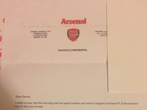 Arsenal-supporting father fakes official club letter to ensure his son remains a Gooner