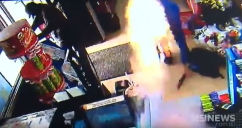 Fire is a good way of deterring thieves, apparently (Picture: 9News)