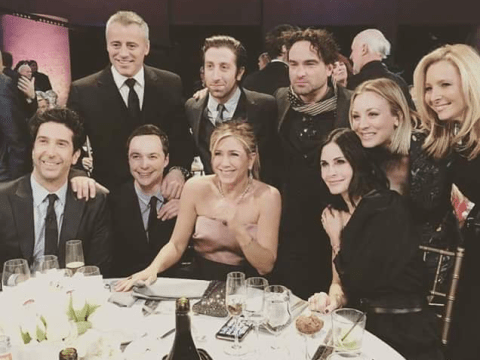 This photo of the Friends cast reuniting alongside the Big Bang Theory gang is everything