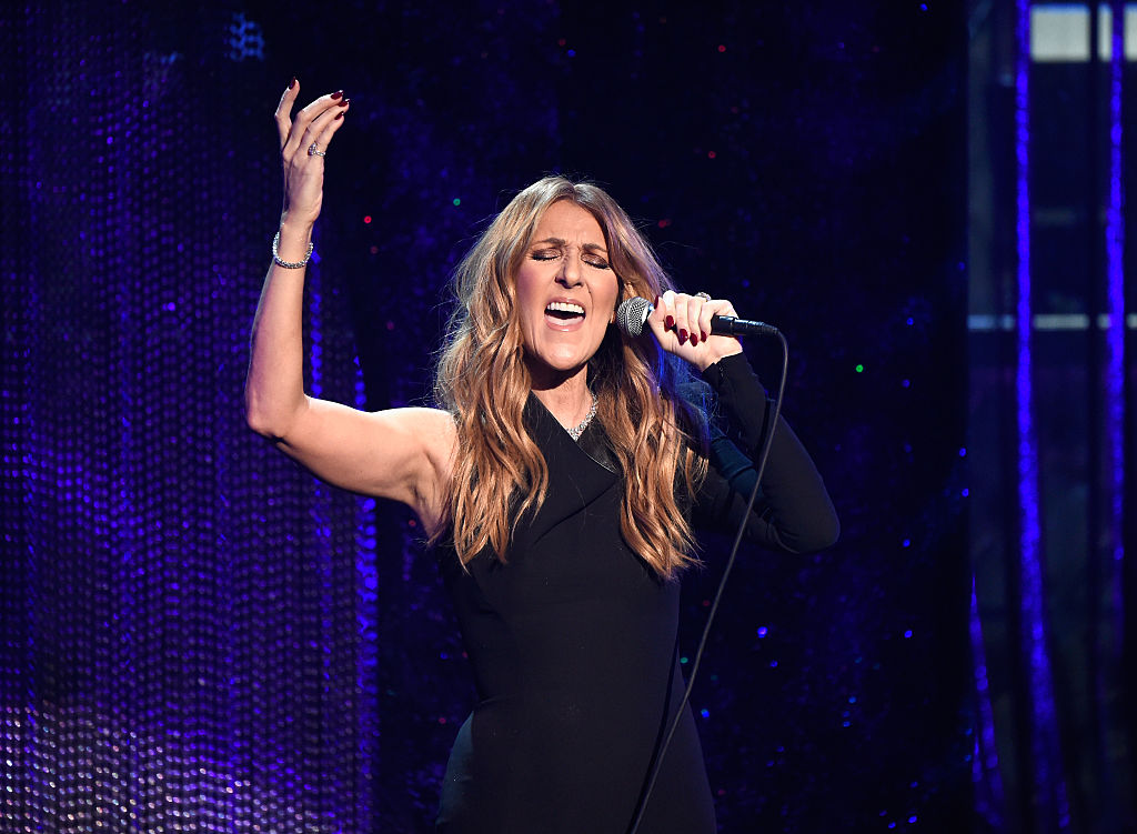 "Singer Celine Dion  performs during ""Sinatra 100: An All-Star GRAMMY Concert"" celebrating the late Frank Sinatra's 100th birthday at the Encore Theater at Wynn Las Vegas on December 2, 2015 in Las Vegas, Nevada. The show will air on CBS on December 6.  (Photo by Kevin Mazur/WireImage)"