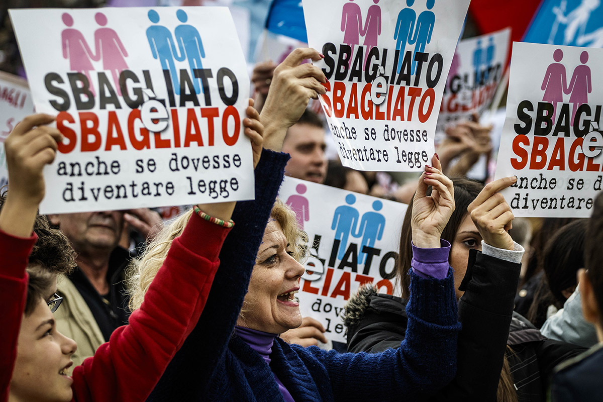 ROME, ITALY - 2016/01/30: Pro-families demonstrators and associations take part in a rally, at Circus Maximus, in defense of marriage and the traditional family in the eve of a decisive parliamentary vote on the bill that legalizes same-sex civil unions in Rome, Italy. Around a million people from all over Italy attend a 'Family Day' rally, at Rome's Circus Maximus, to defend the traditional family at the same time as the Italian legislature prepares to vote on a bill legalising civil gay unions. The Family Day aim to defend the traditional family and to protest against the Cirinnà bill passing through the Italian Parliament. The legislation, which was introduced by Senator Monica Cirinnà, proposes giving same-sex couples many of the same rights as married couples. (Photo by Giuseppe Ciccia/Pacific Press/LightRocket via Getty Images)