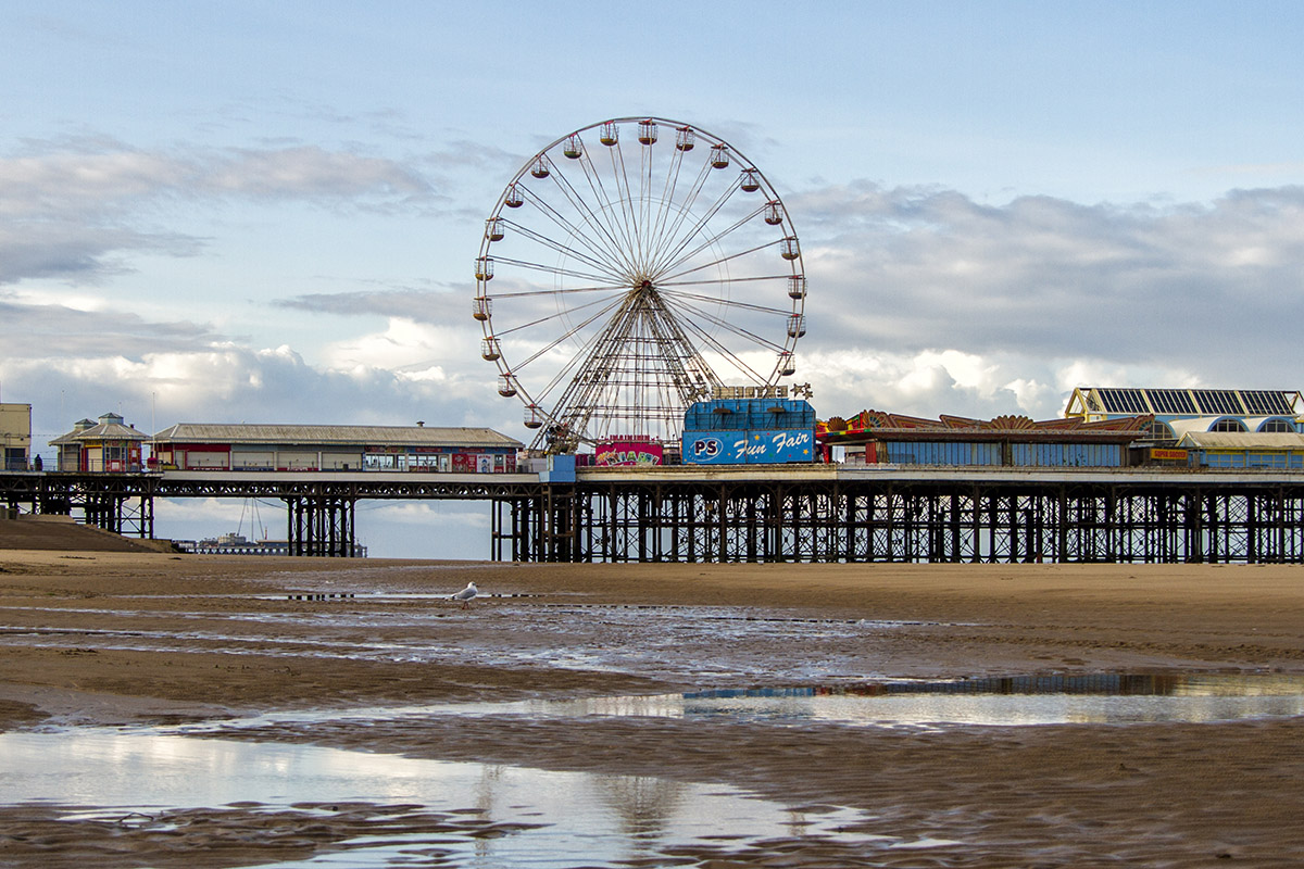 UK, England, Blackpool, Pier on cloudy day