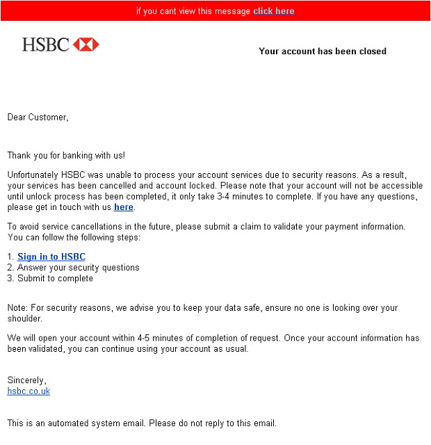 HSBC email scam
