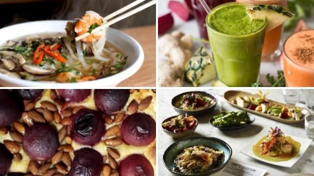 healthy restaurants in london serving pho, japanese, juices and vegan deserts