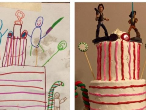 Six-year-old designs his own cake – mum gives him EXACTLY what he asks for