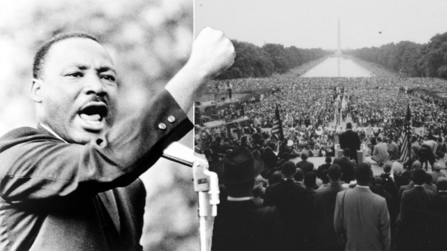 No Merchandising. Editorial Use Only. No Book Cover Usage Mandatory Credit: Photo by Everett/REX/Shutterstock (779610a) Martin Luther King, Jr., gesturing with right fist while delivering speech at Girard College, Philadelphia, on Aug. 3 1965. VARIOUS