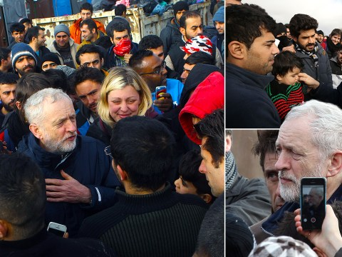 Jeremy Corbyn visits 'squalid' refugee camp where more than 2,500 people are sleeping rough