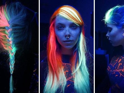 Here's how you can turn your hair into a glow in the dark rainbow