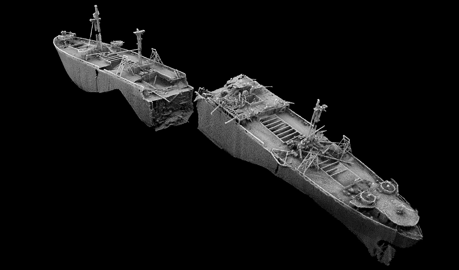 The sonar picture shows the SS Richard Montgomery in detail (Picture: Maritime Coastguard Agency)