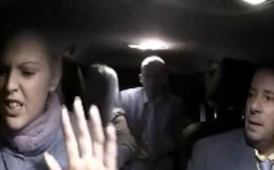 The argument gets heated and she asks her passengers to leave the car (Picture: YouTube)
