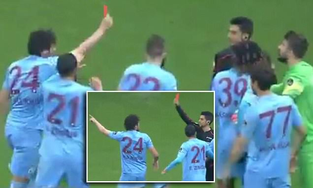 Trabzonspor star Salih Dursun sent off for jokingly giving referee red card