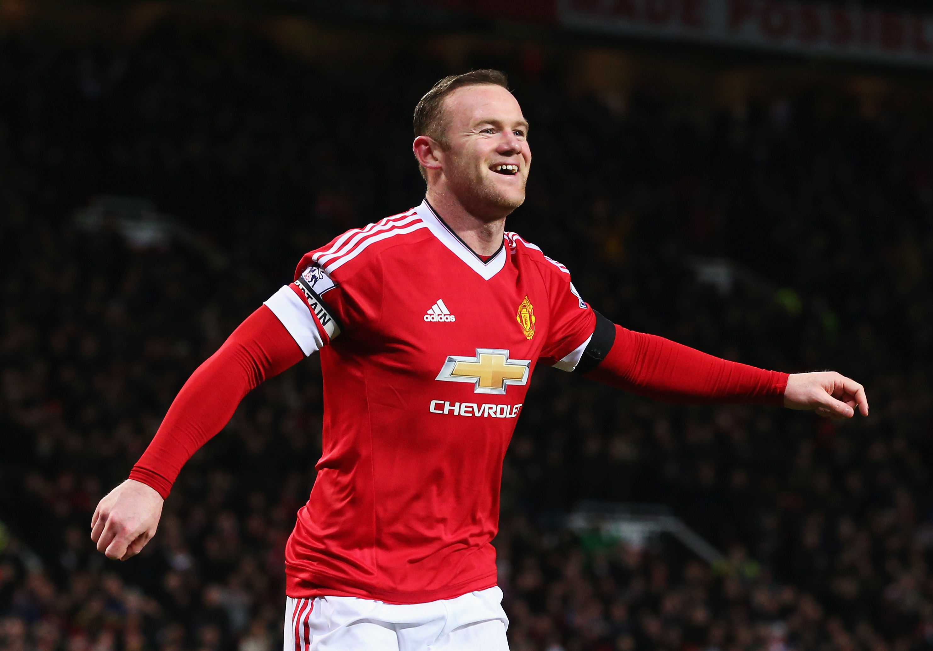 MANCHESTER, ENGLAND - FEBRUARY 02: Wayne Rooney of Manchester United celebrates scoring his team's third goal during the Barclays Premier League match between Manchester United and Stoke City at Old Trafford on February 2, 2016 in Manchester, England. (Photo by Alex Livesey/Getty Images)