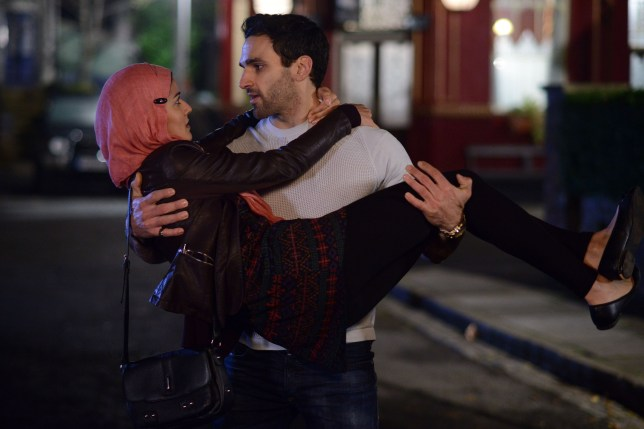 WARNING: Embargoed for publication until 27/01/2015 - Programme Name: EastEnders - TX: 05/02/2015 - Episode: 5010 (No. n/a) - Picture Shows: Kush persuades Shabnam to admit she likes him. Shabnam Masood (RAKHEE THAKRAR), Kush Kazemi (DAVOOD GHADAMI) - (C) BBC - Photographer: Kieron McCarron