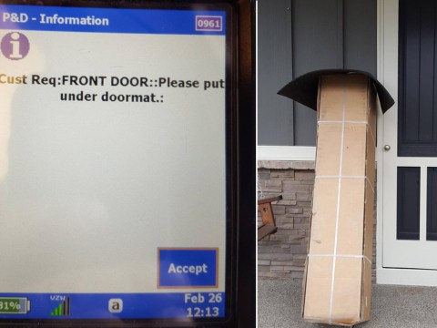 Delivery man is determined to do exactly what the customer asks
