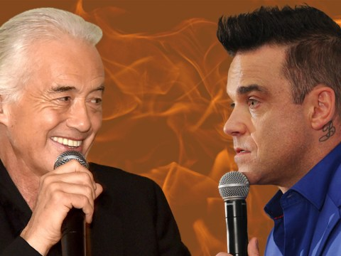 Prankster sticks joke poster up by Robbie Williams' mansion to celebrate his Jimmy Page feud