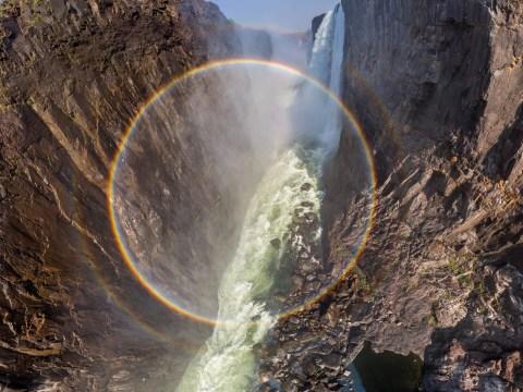 Drone captures full circular rainbow inside world's biggest waterfall