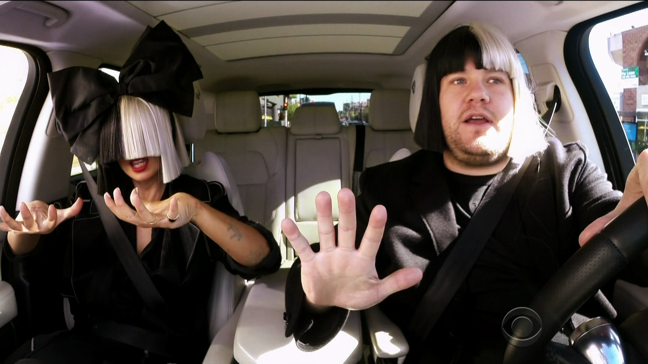 Sia rattles through a string of her greatest hits – beneath her trademark wig – in her Carpool Karaoke