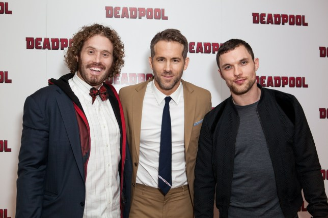 Actors from left, TJ Miller, Ryan Reynolds and Ed Skrein pose for photographers upon arrival at a fan screening of the film ëDeadpoolí, in central London, Thursday, Oct. 28, 2016. (Photo by Grant Pollard/Invision/AP)