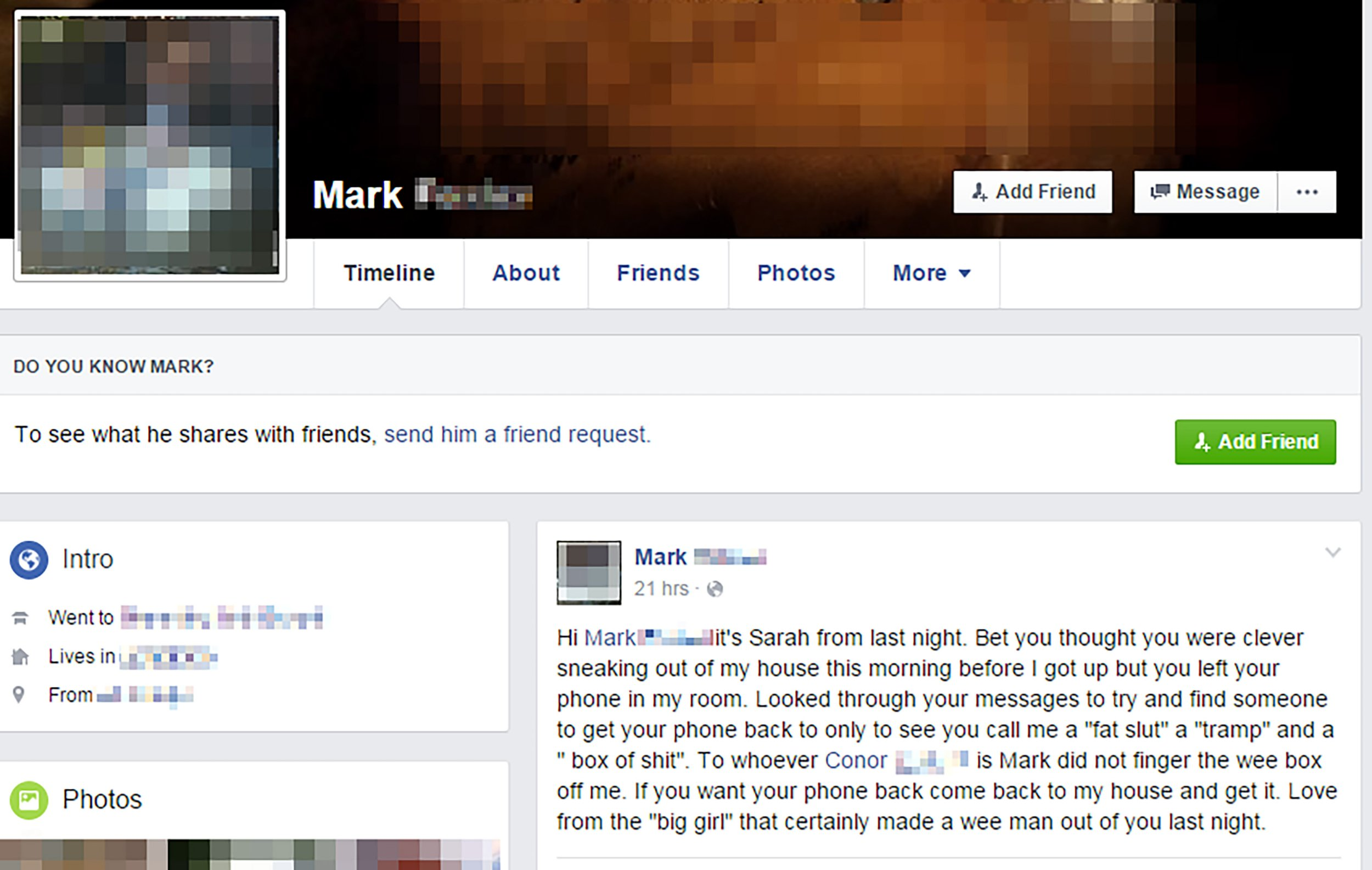 PIC FROM MERCURY PRESS (PICTURED: THE FACEBOOK POST ON MARK HOLLAND'S FACEBOOK PROFILE, POSTED BY HIS SCORNED ONE NIGHT STAND ONLY KNOWN AS SARAH) A university student thought he had craftily escaped his one night stand without waking her ñ only to be humiliated when she wrote a Facebook post on his own account using his phone that he had left behind. Mark Holland, 23, met the girl he only knows as ëSarahí on a night out in Coleraine, Northern Ireland, with friends but was so drunk he was shocked to wake up in her bed the next morning. Hoping to ëavoid the awkward good morningí, Mark claims he silently dressed and left at 7am, without Sarah noticing ñ and went to catch up on sleep at home. To Markís horror, he awoke later that day to find he had left his phone at Sarahís house, who had since discovered offensive messages he had sent to his friend about her the night before ñ and that the post had gone viral. SEE MERCURY COPY