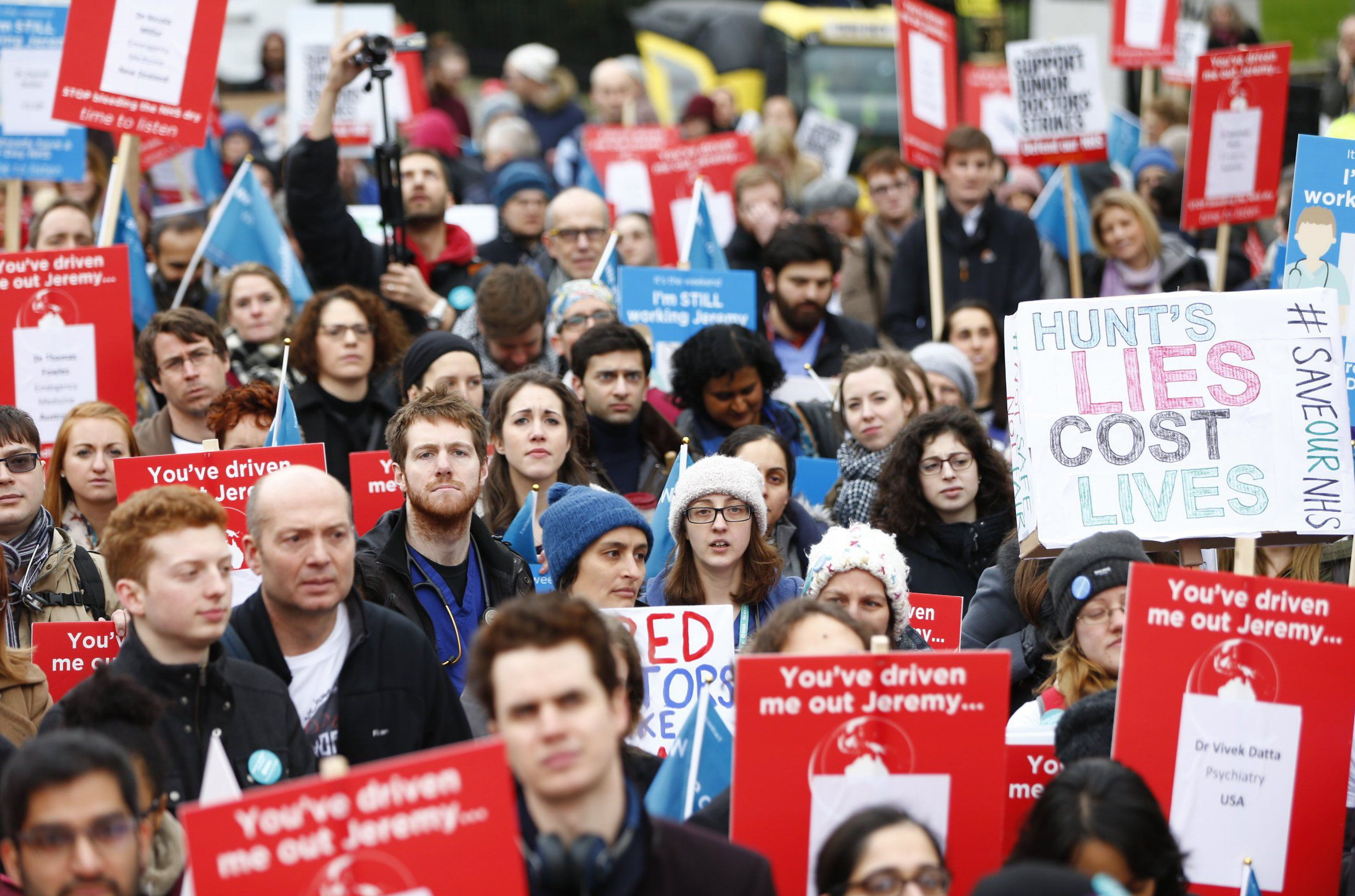 Mandatory Credit: Photo by Tolga Akmen/LNP/REX/Shutterstock (5583166j) Junior doctors and NHS staff staging a protest in central London ahead of a 24-hour walkout due to begin on Wednesday Junior Doctors Protest, London, Britain - 06 Feb 2016