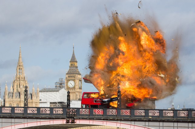 Bus Explodes on Lambeth Bridge for filming of Jackie Chan Movie The Foreigner. Featuring: Atmosphere, the foreigner Where: London, United Kingdom When: 07 Feb 2016 Credit: WENN.com
