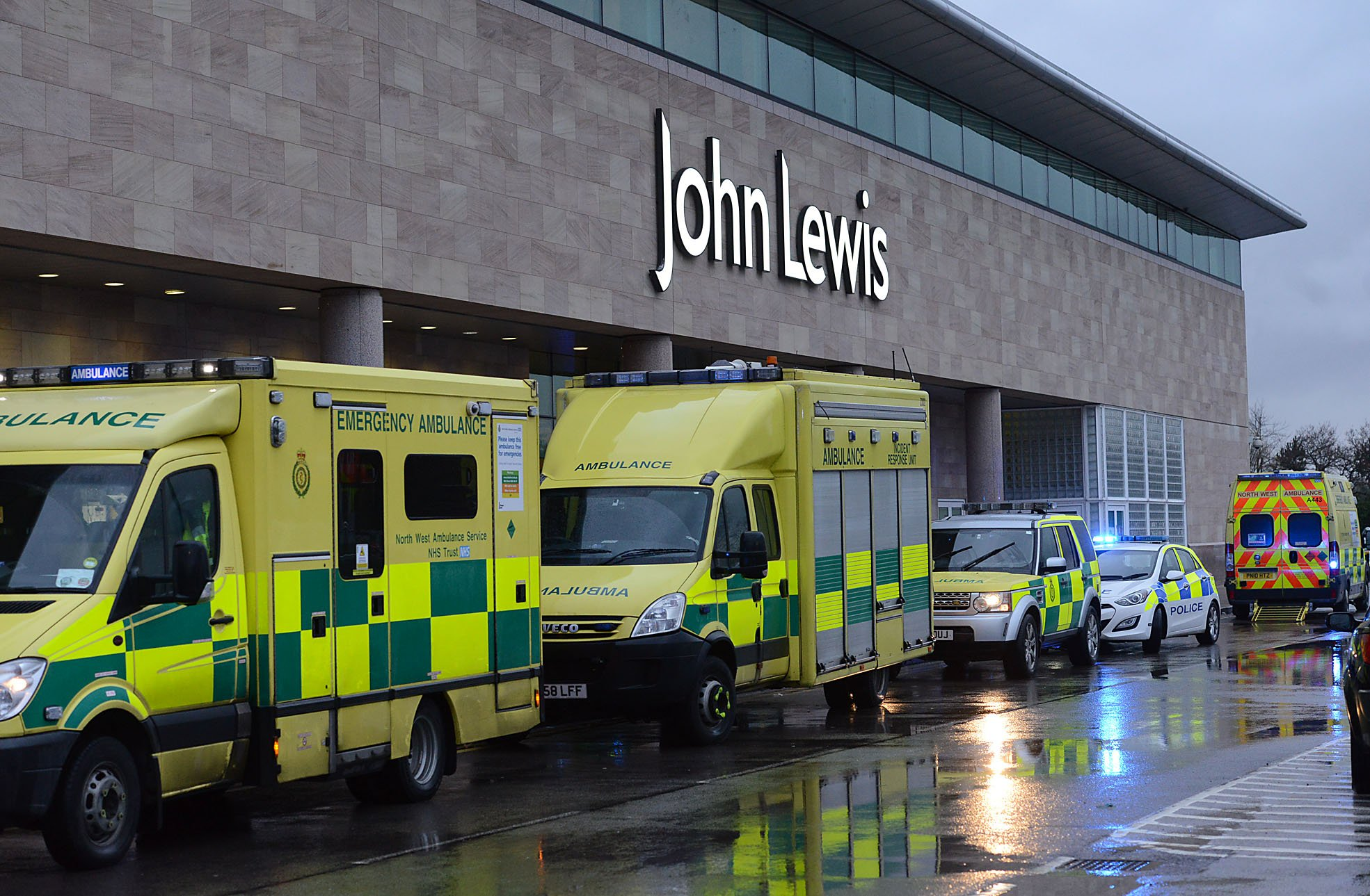 Incident scene at John Lewis Cheadle . Paramedics and Air Ambulance . 08 February . 2016 . Picture by Matt RatcliffennThere is video in Google Drive called ' John Lewis Incident '
