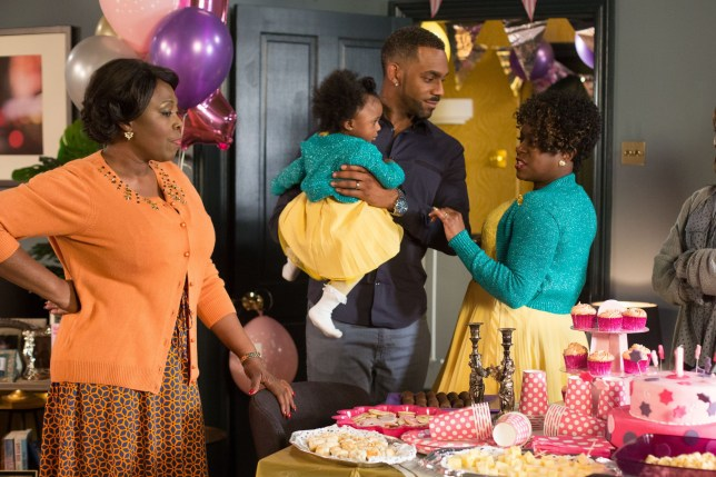 WARNING: Embargoed for publication until 00:00:01 on 16/02/2016 - Programme Name: Eastenders - TX: 23/02/2016 - Episode: 5234 (No. n/a) - Picture Shows: Claudette comments on Pearl's outfit and realises Kim is wearing matching clothes. Claudette (ELLEN THOMAS), Pearl, Vincent (RICHARD BLACKWOOD), Kim Fox-Hubbard (TAMEKA EMPSON) - (C) BBC - Photographer: Jack Barnes