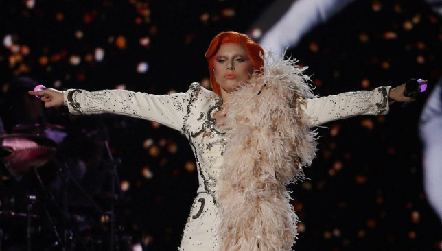 Lady Gaga performs a medley of David Bowie songs as a tribute to the late singer during the 58th Grammy Awards in Los Angeles, California February 15, 2016. REUTERS/Mario Anzuoni