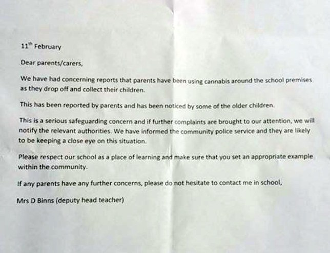 "FROM JOHN JEFFAY AT CASCADE NEWS LTD 0161 660 8087 / 07771 957773 john@cascadenews.co.uk / www.cascadenews.co.uk Syndicated for Bolton News With copy of letter, GV of school Letter sent to parents at St John's Primary, Radcliffe, DOPEY parents have been ordered to stop puffing joints on the early morning school run. St Johnís Primary in Radcliffe, Greater Manchester, has issued a warning that cops will be patrolling the area. It follows reports of parents smoking cannabis as they drop off and pick up their kids. In a letter to parents of the 138 pupils, deputy head teacher Deborah Binns says they need to ""set a good example"" for their children."