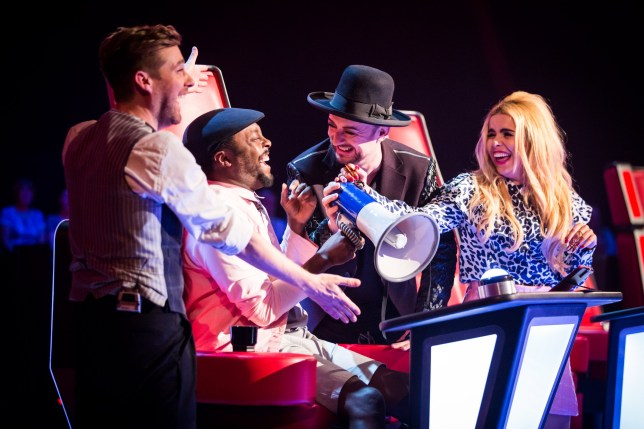 WARNING: Embargoed for publication until 00:00:01 on 16/02/2016 - Programme Name: The Voice - TX: 20/02/2016 - Episode: 7 (No. 7) - Picture Shows: THE VOICE - Episode 7 Ricky Wilson, Will.i.am, Boy George, Paloma Faith - (C) Wall To Wall - Photographer: Guy Levy