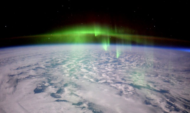 "UK London -- 23 Feb 2016 -- British ESA astronaut Tim Peake sent this remarkable image of an aurora (the hemisphere is not specified) that he took from the orbiting International Space Station on Tuesday 23 Feb 2016 as the ISS flew through an aurora during his six month Principia mission. The astronaut said: ""The ISS just passed straight through a thick green fog of aurora¿eerie but very beautiful,"" -- Picture by Tim Peake/Atlas Photo Archive/NASA/ESA"