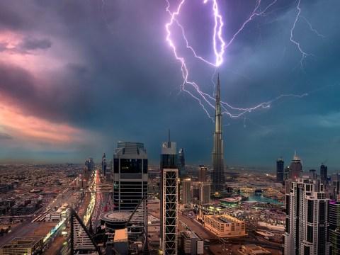 Stunning photos shows lightning strike the Burj Khalifa