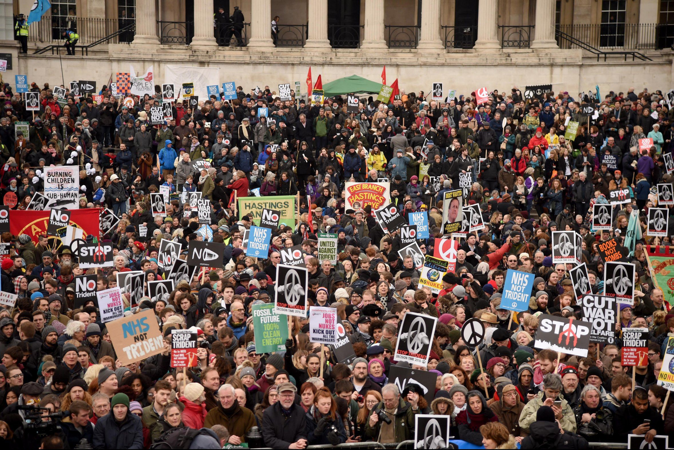 Mandatory Credit: Photo by Finnbarr Webster/REX/Shutterstock (5599268n) The Stop Trident protest in Trafalgar Square CND anti-Trident protest, London, Britain - 27 Feb 2016