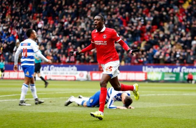 Charlton Athletic's Yaya Sanogo celebrates scoring his side's first goal of the game