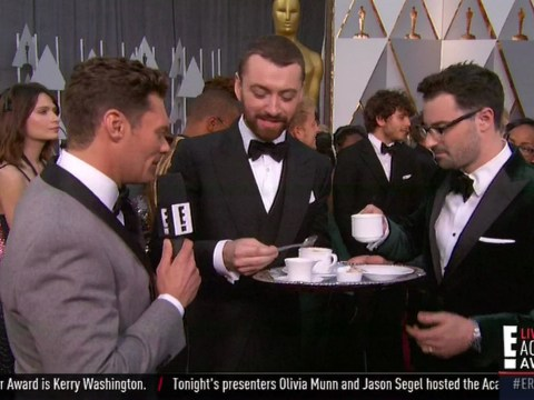 Oscars 2016: Sam Smith drank tea on the red carpet because he's British, obviously