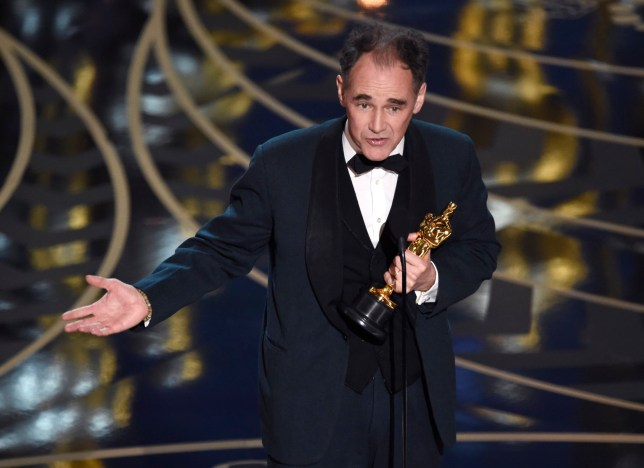 Mark Rylance accepts the award for best actor in a supporting role for ìBridge of Spiesî at the Oscars on Sunday, Feb. 28, 2016, at the Dolby Theatre in Los Angeles. (Photo by Chris Pizzello/Invision/AP)