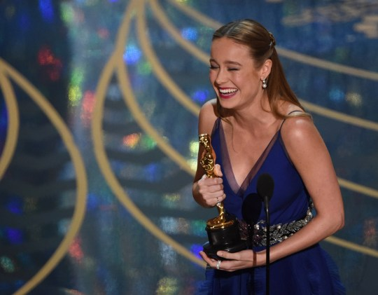 Actress Brie Larson accepts her award for Best Actress, Room on stage at the 88th Oscars on February 28, 2016 in Hollywood, California. AFP PHOTO / MARK RALSTONMARK RALSTON/AFP/Getty Images