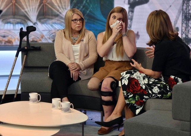 For use in UK, Ireland or Benelux countries only  BBC handout photo of Victoria Balch (centre) appearing the Victoria Derbyshire programme on BBC News, where she spoke of her determination to walk again before she graduates after she lot her leg in the Alton Towers rollercoaster crash. PRESS ASSOCIATION Photo. Issue date: Wednesday September 16, 2015. The university student had her right leg amputated above the knee after the smash on the theme park's Smiler ride in June. See PA story ACCIDENT AltonTowers. Photo credit should read: Jeff Overs/BBC/PA Wire NOTE TO EDITORS: Not for use more than 21 days after issue. You may use this picture without charge only for the purpose of publicising or reporting on current BBC programming, personnel or other BBC output or activity within 21 days of issue. Any use after that time MUST be cleared through BBC Picture Publicity. Please credit the image to the BBC and any named photographer or independent programme maker, as described in the caption.
