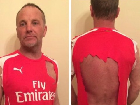 Arsenal fan rips shirt to shreds after defeat to Manchester United, tries to sell it on Facebook