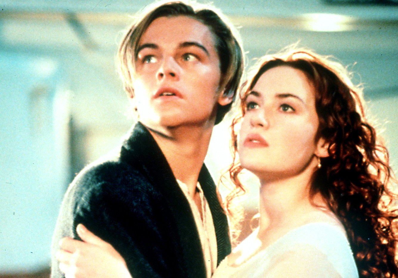 FILM: Titanic (1997) Leonardo Di Caprio pictured as Jack Dawson, with Kate Winslet as Rose DeWitt Bukater, in a scene from the film directed by James Cameron.